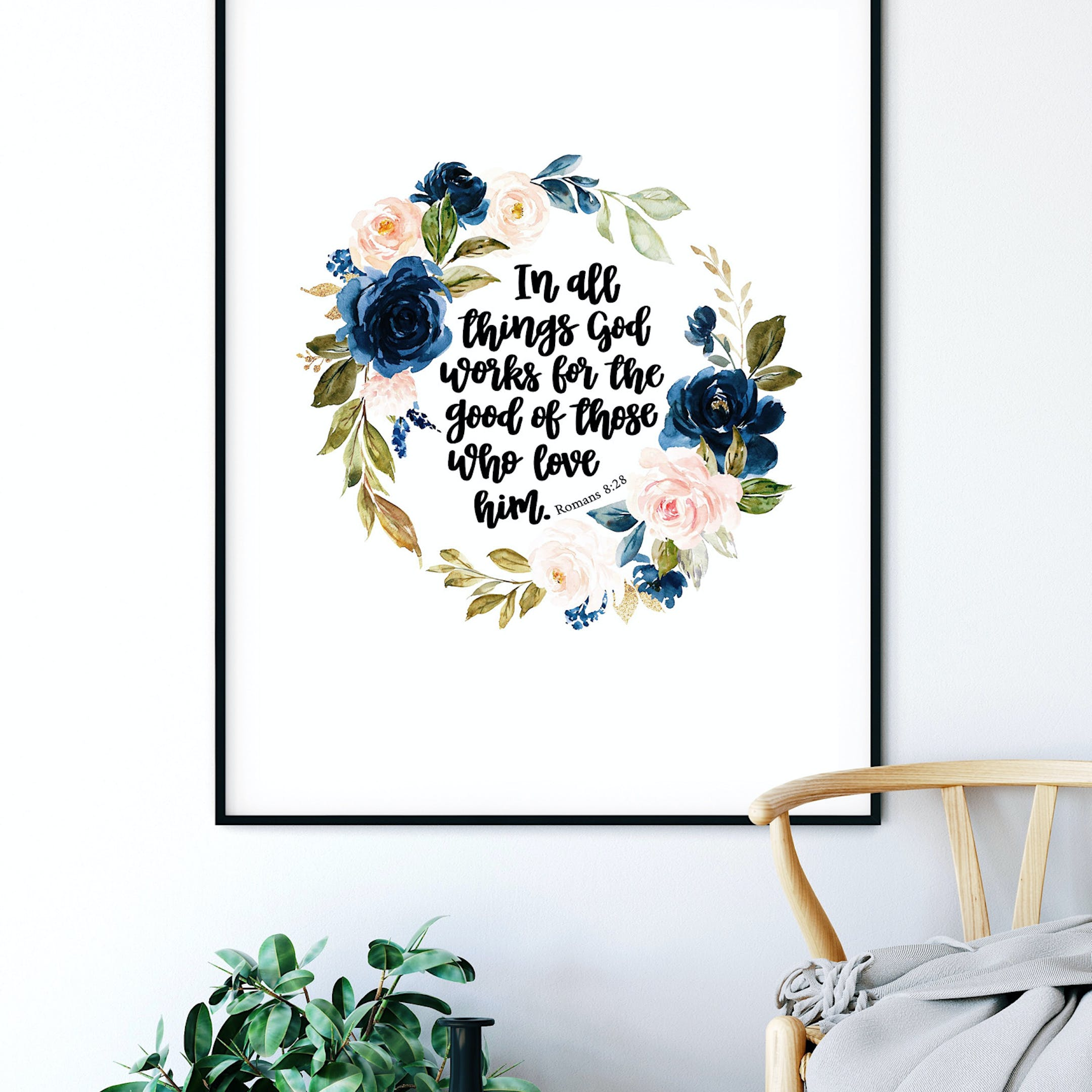 Floral Print - Romans 8:28 - Izzy and Pop