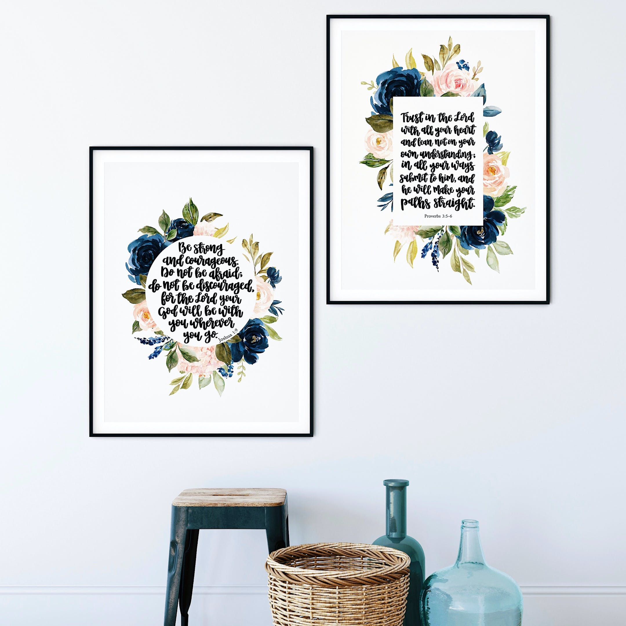 Floral Print Set of 2 - Be Strong And Courageous & Trust In The Lord - Izzy & Pop