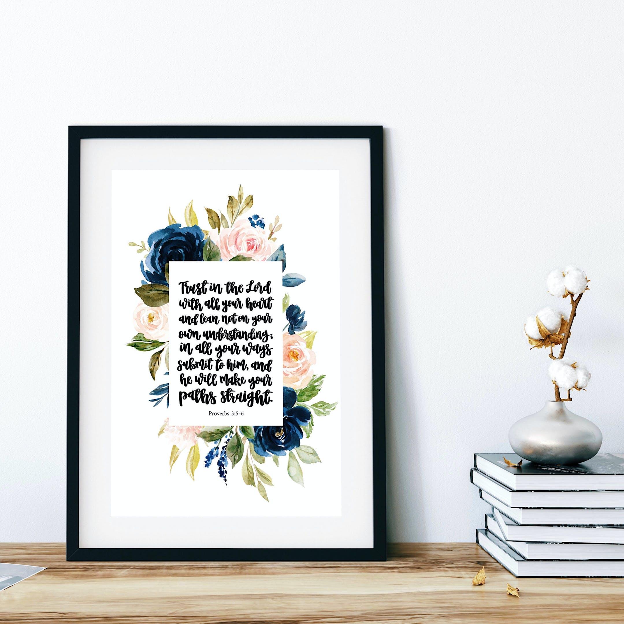 Floral Proverbs 3:5-6 Print - Izzy & Pop