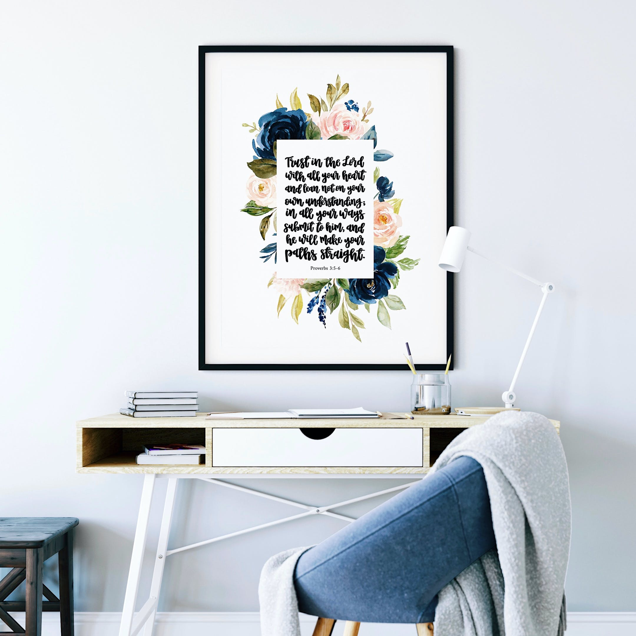 Floral Proverbs 3:5-6 Print - Trust In The Lord - Izzy & Pop