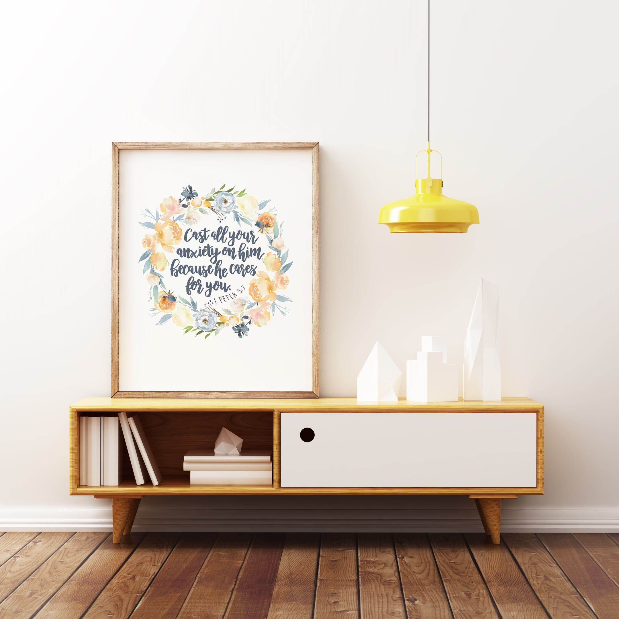 Floral Wreath - Cast All Your Anxiety On Him Print 2 - 1 Peter 5:7- Izzy and Pop