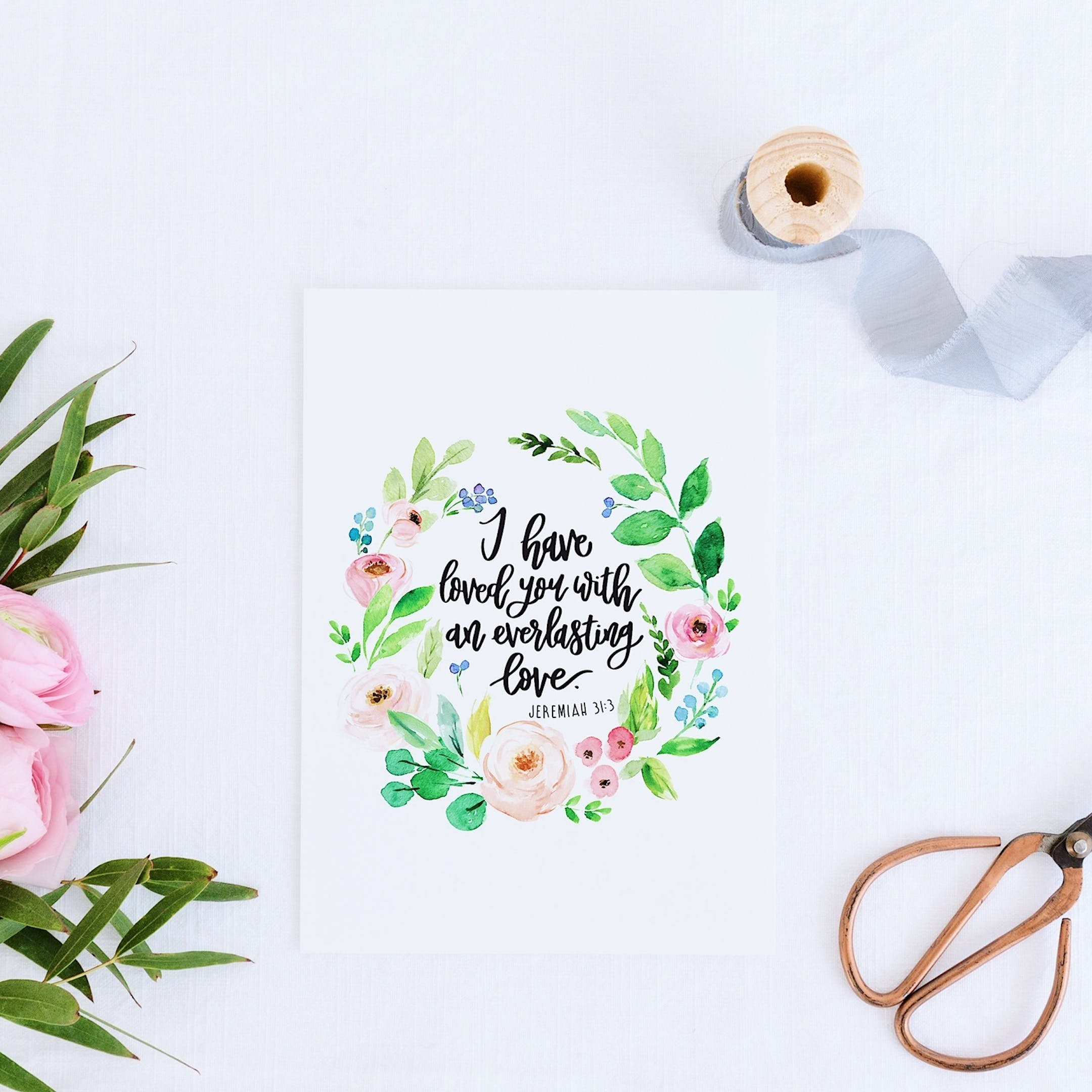 Floral Wreath Print - Jeremiah 31:3 - I Have Loved You - Izzy and Pop