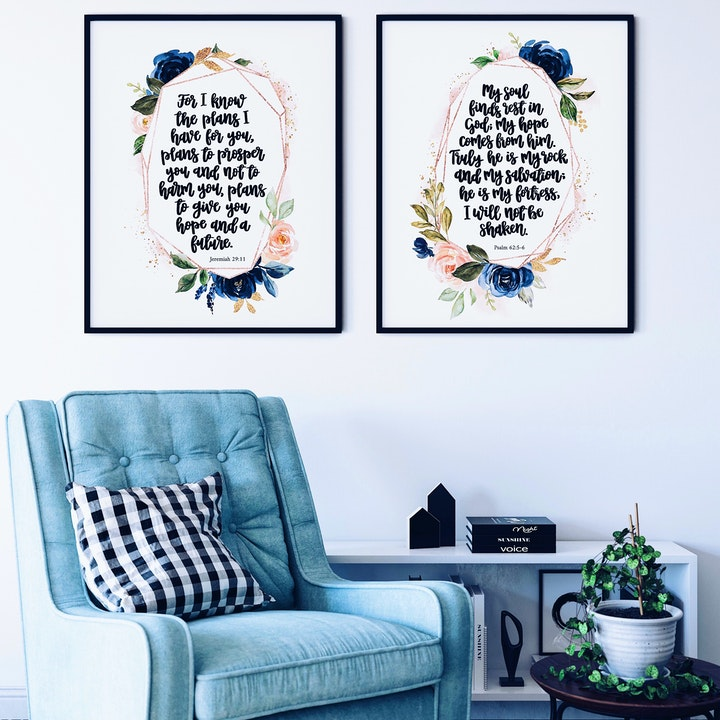 For I Know The Plans And My Soul Finds Rest in God Print Set Of 2 - Izzy & Pop