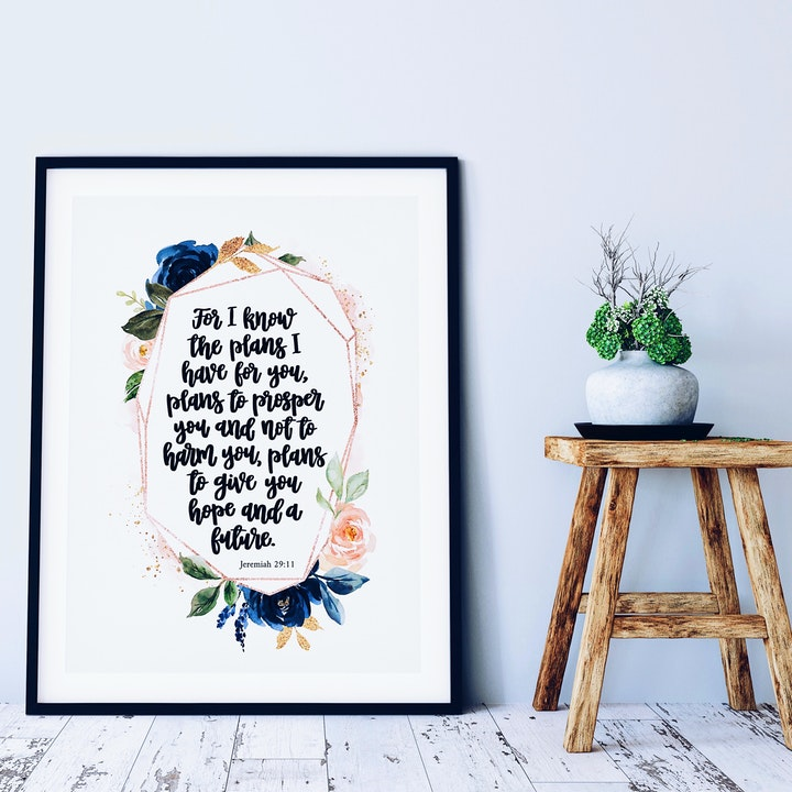 For I Know The Plans I Have For You Print - Jeremiah 29:11 - Rose Gold - Izzy & Pop