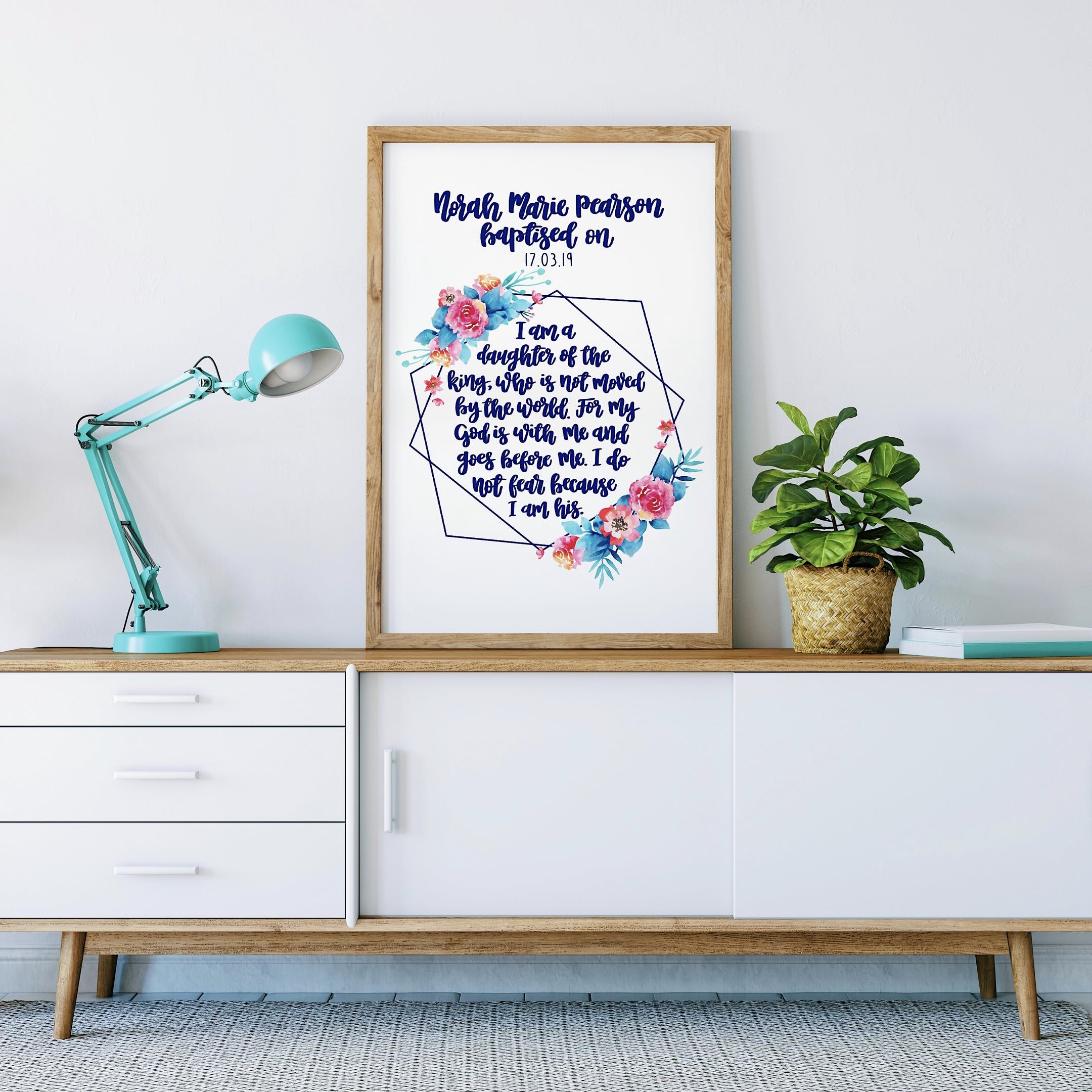 Geo Print Personalised Baptism Version - I Am A Daughter Of The King - Izzy and Pop
