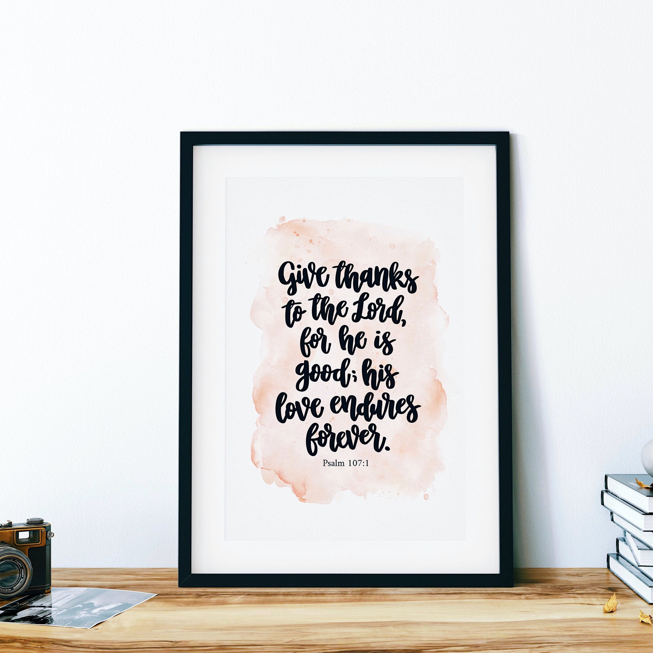 Give Thanks Print - Psalm 107:1 - Izzy & Pop