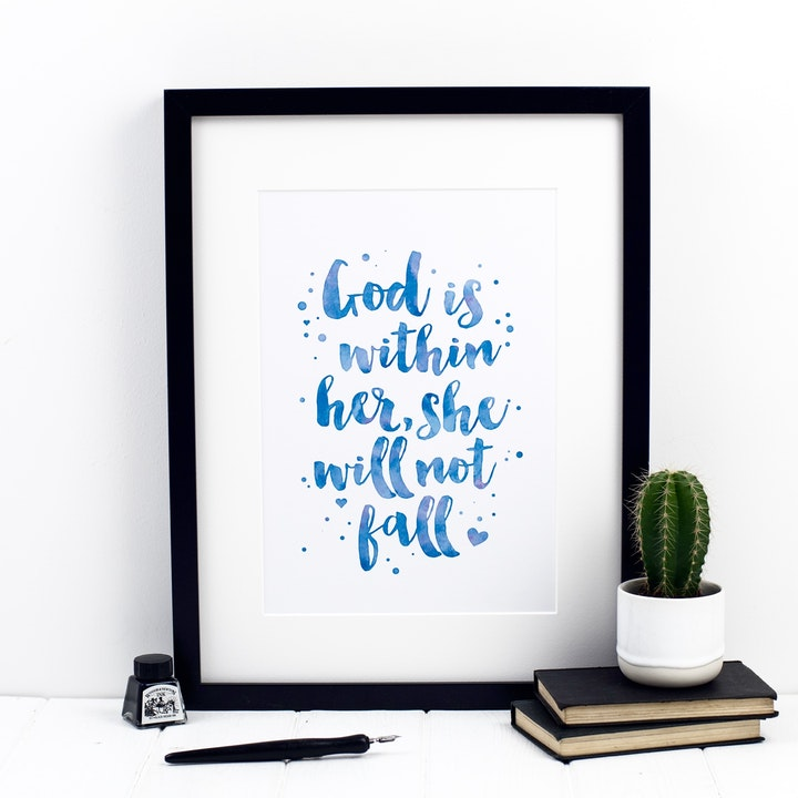 God Is Within Her She Will Not Fall Print - Psalm 46:5 - Izzy and Pop