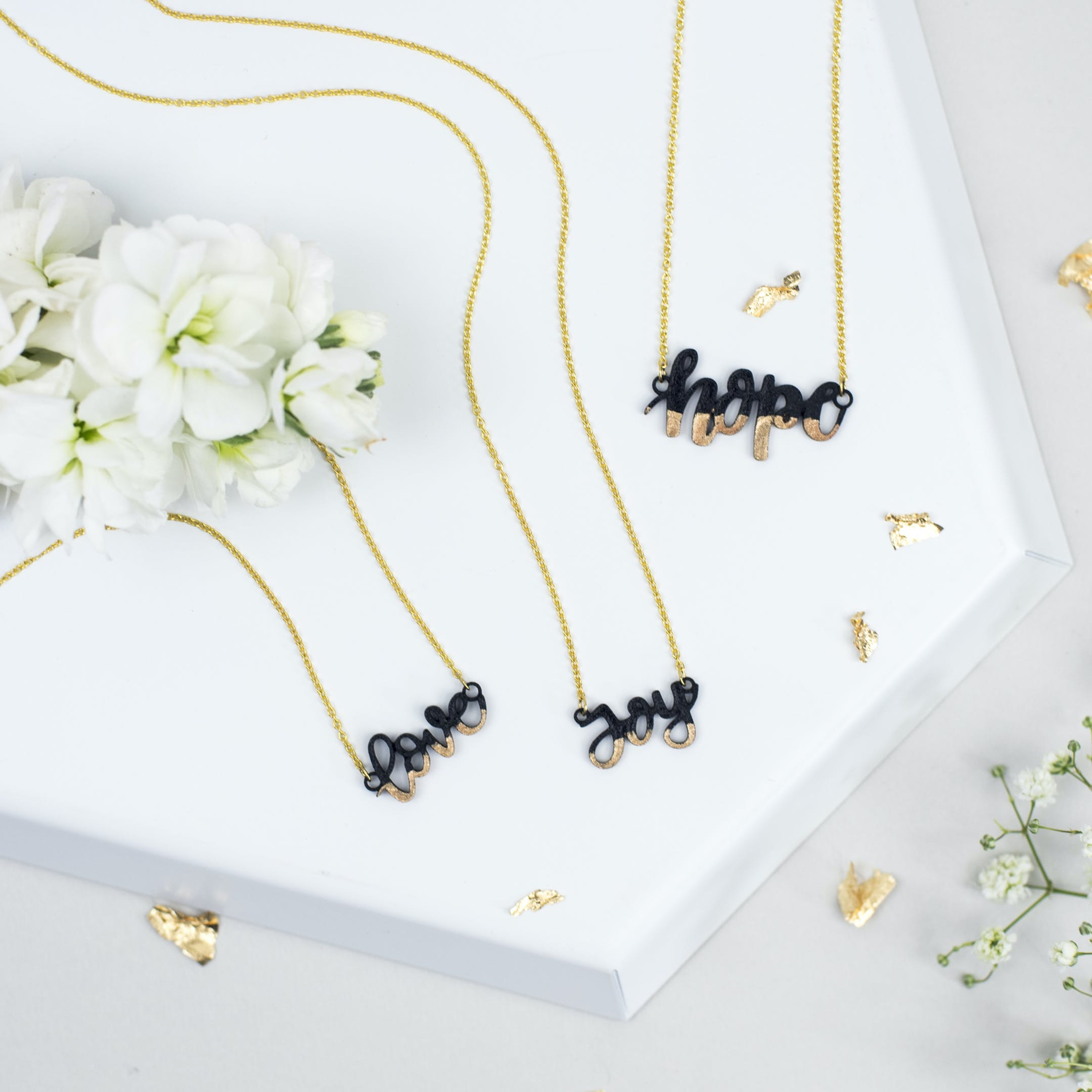 Gold-Dipped Love Joy Hope Necklaces - Izzy and Pop - Bloom Jewellery