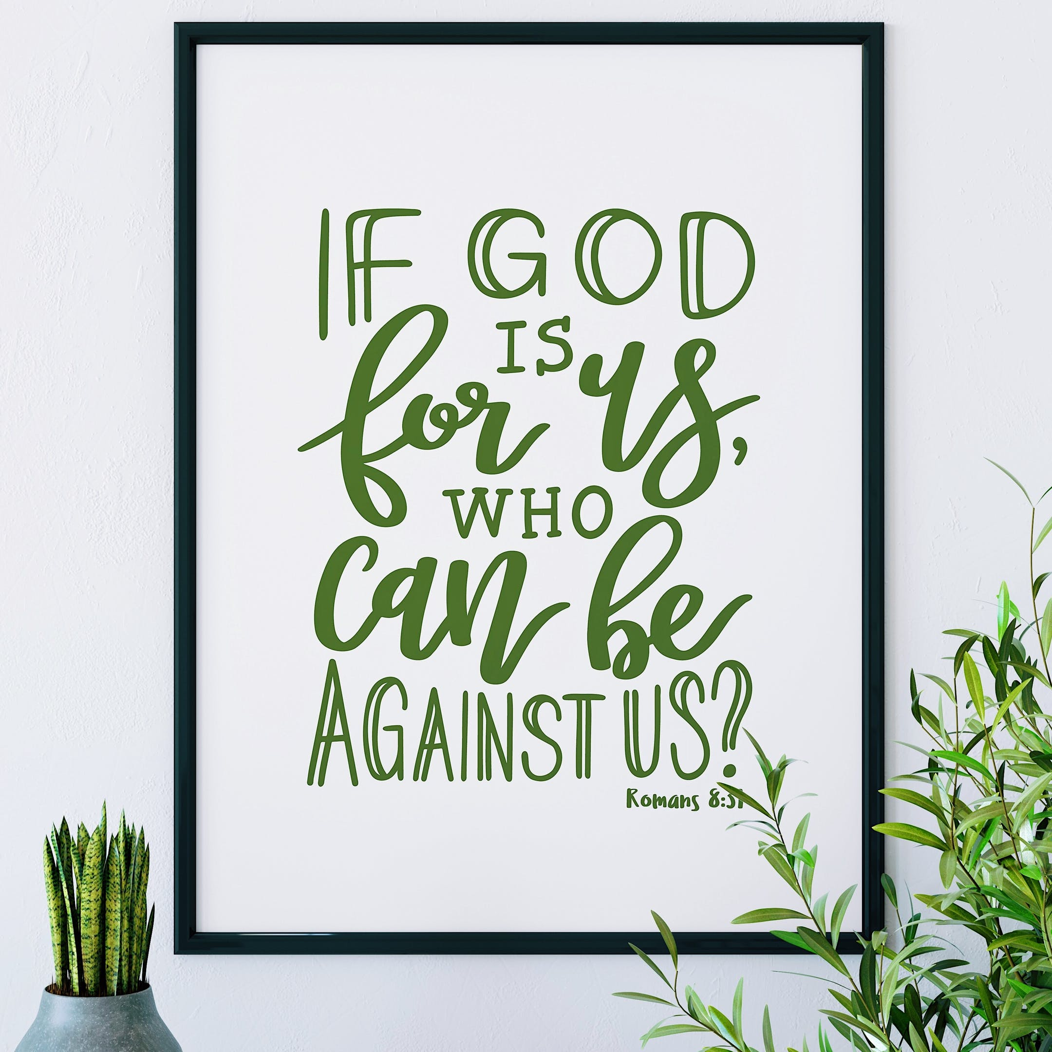Green Romans 8:31 Print - If God Is For Us - Izzy and Pop