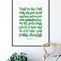 Green Trust In The Lord Calligraphy Print - Proverbs 3:5-6 - Izzy & Pop