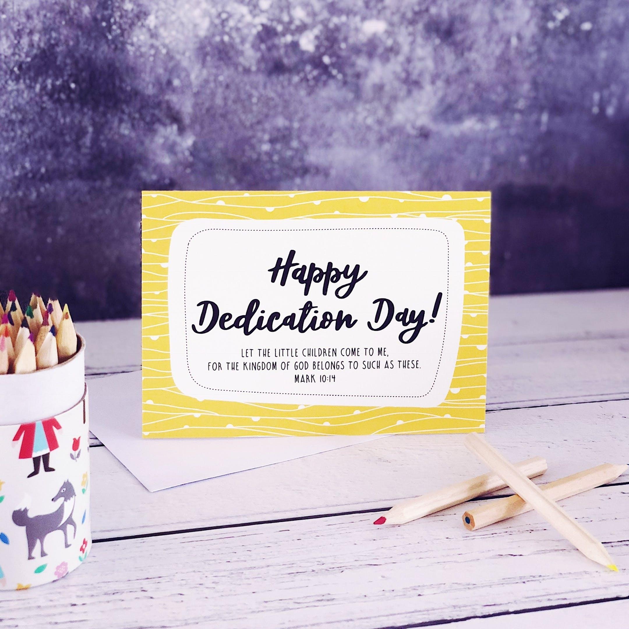 Happy Dedication Day! - Mark 10:14 Card - Izzy and Pop
