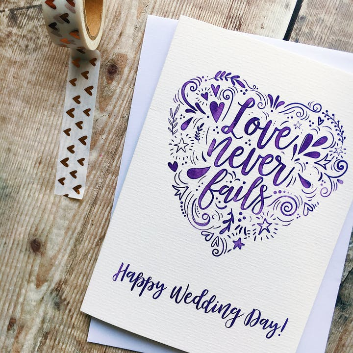 Happy Wedding Day Card - Love Never Fails - 1 Corinthians 13 - Izzy and Pop