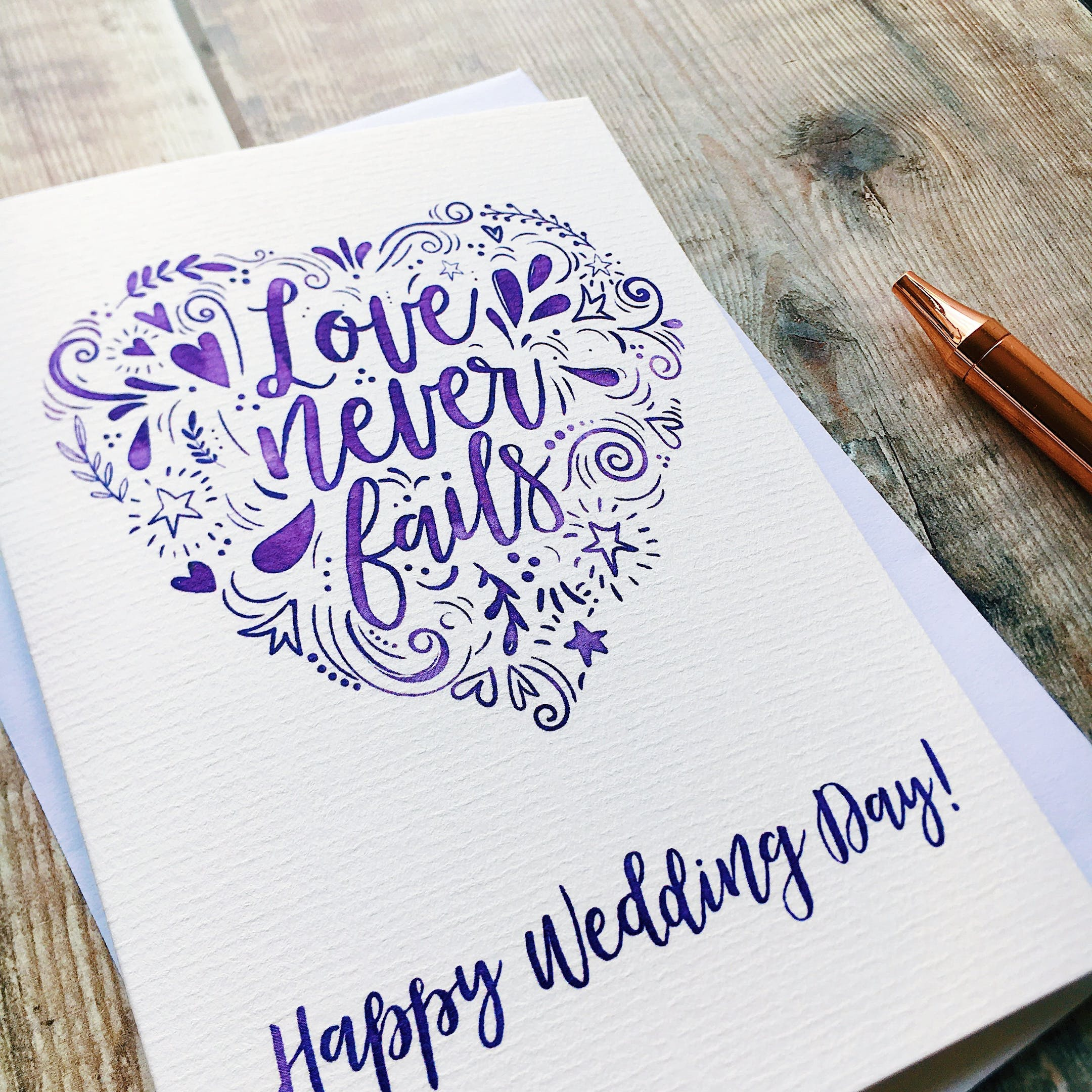 Happy Wedding Day Card - Love Never Fails  - Izzy and Pop