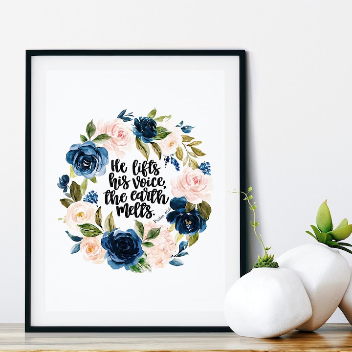 He Lifts His Voice, The Earth Melts Print - Psalm 46:6 - Izzy & Pop