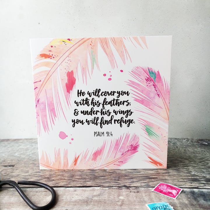 He Will Cover You With His Feathers Card - Psalm 91:4 - Izzy and Pop