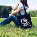 His Love Gives Life Tote Bag - Black - Izzy and Pop