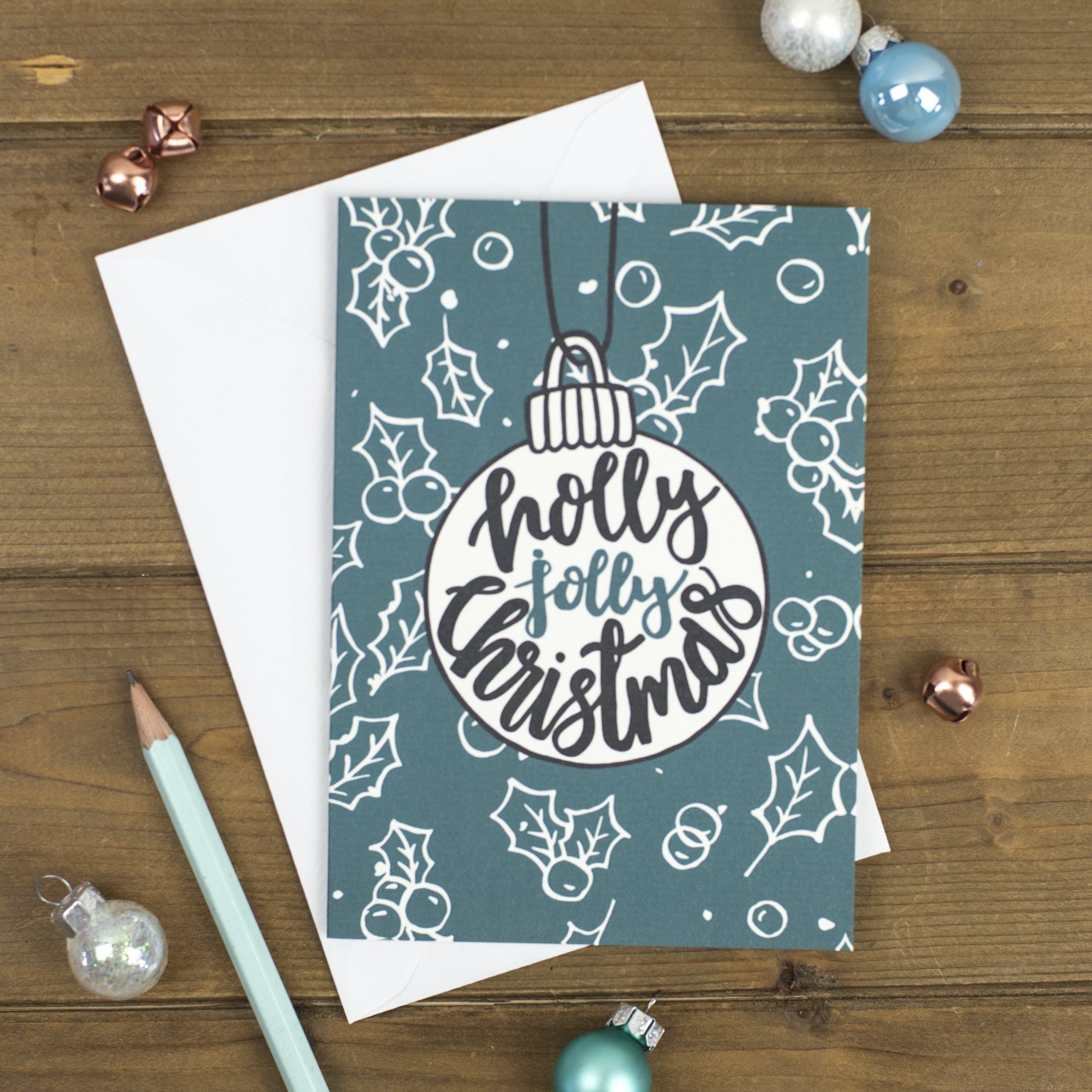 Holly Jolly Christmas Bauble Card - Izzy and Pop