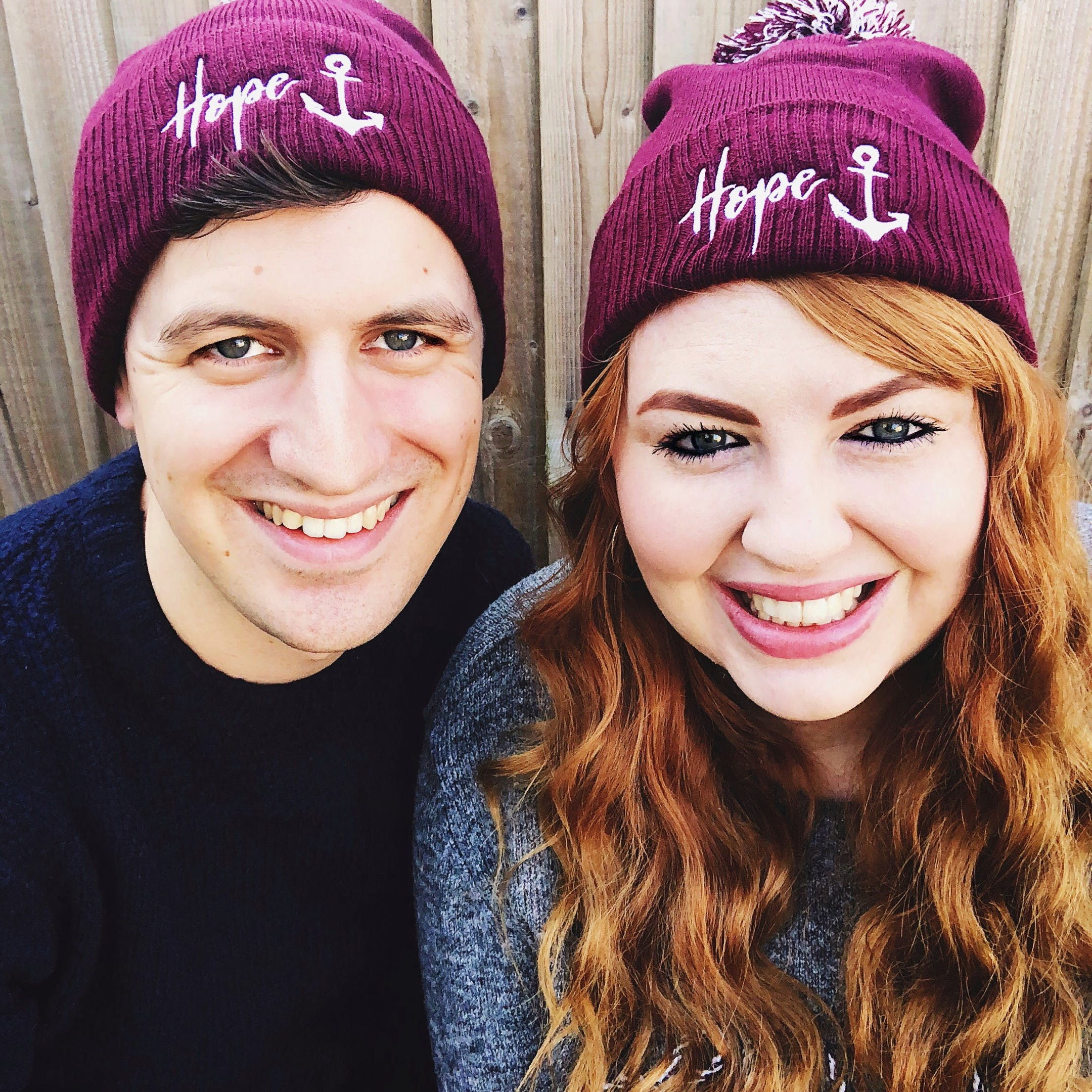 Hope Anchor Beanie Hat on Models - Izzy and Pop