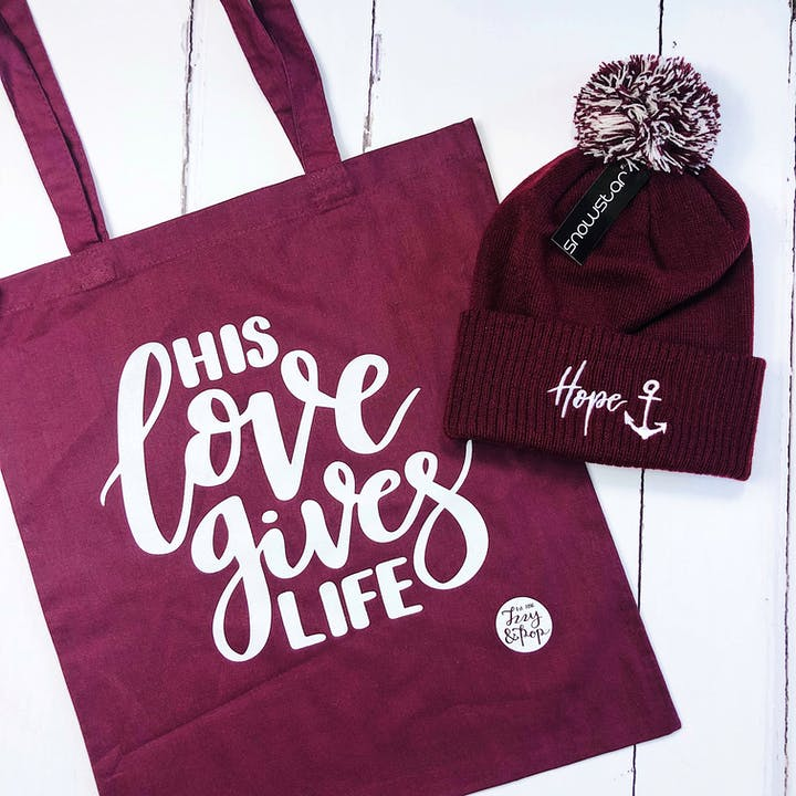Hope Beanie & His Love Gives Life Tote Bag Bundle - Izzy and Pop
