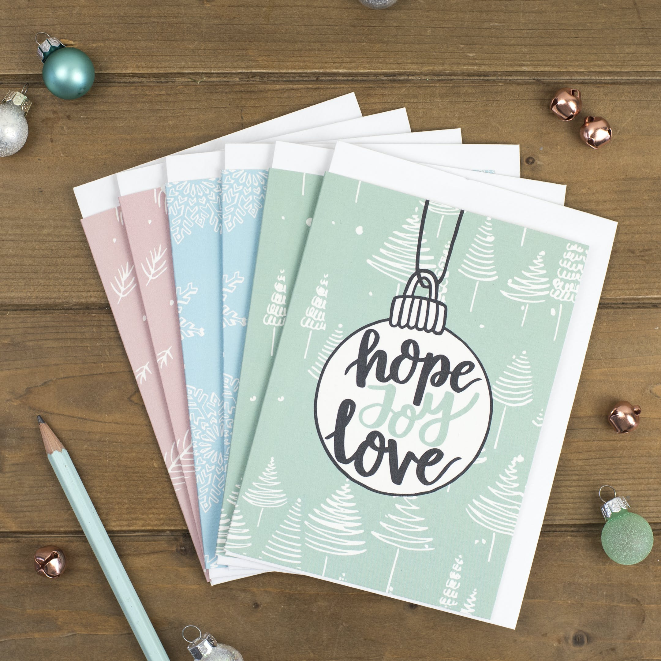 Hope Joy Love Baubles - Christmas Cards - Izzy and Pop