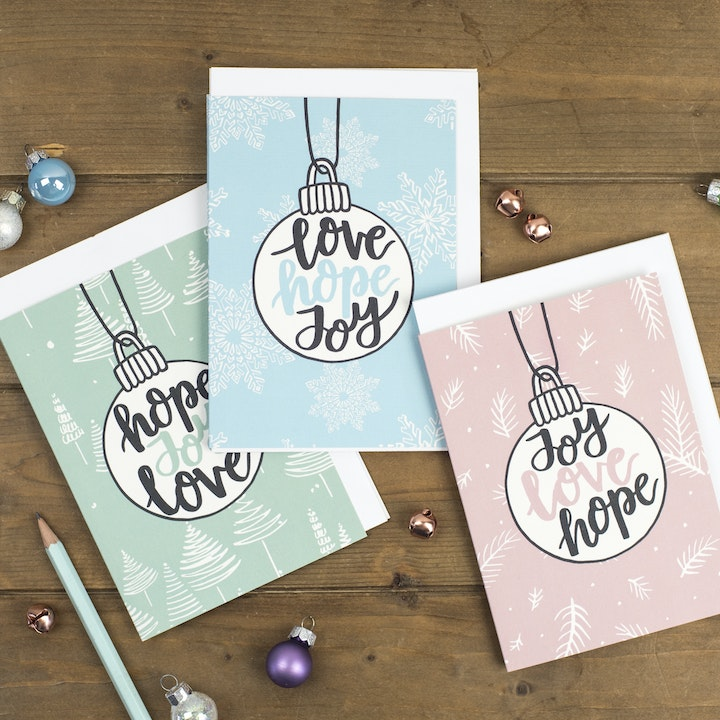 Hope Joy Love Christmas Cards - Izzy and Pop