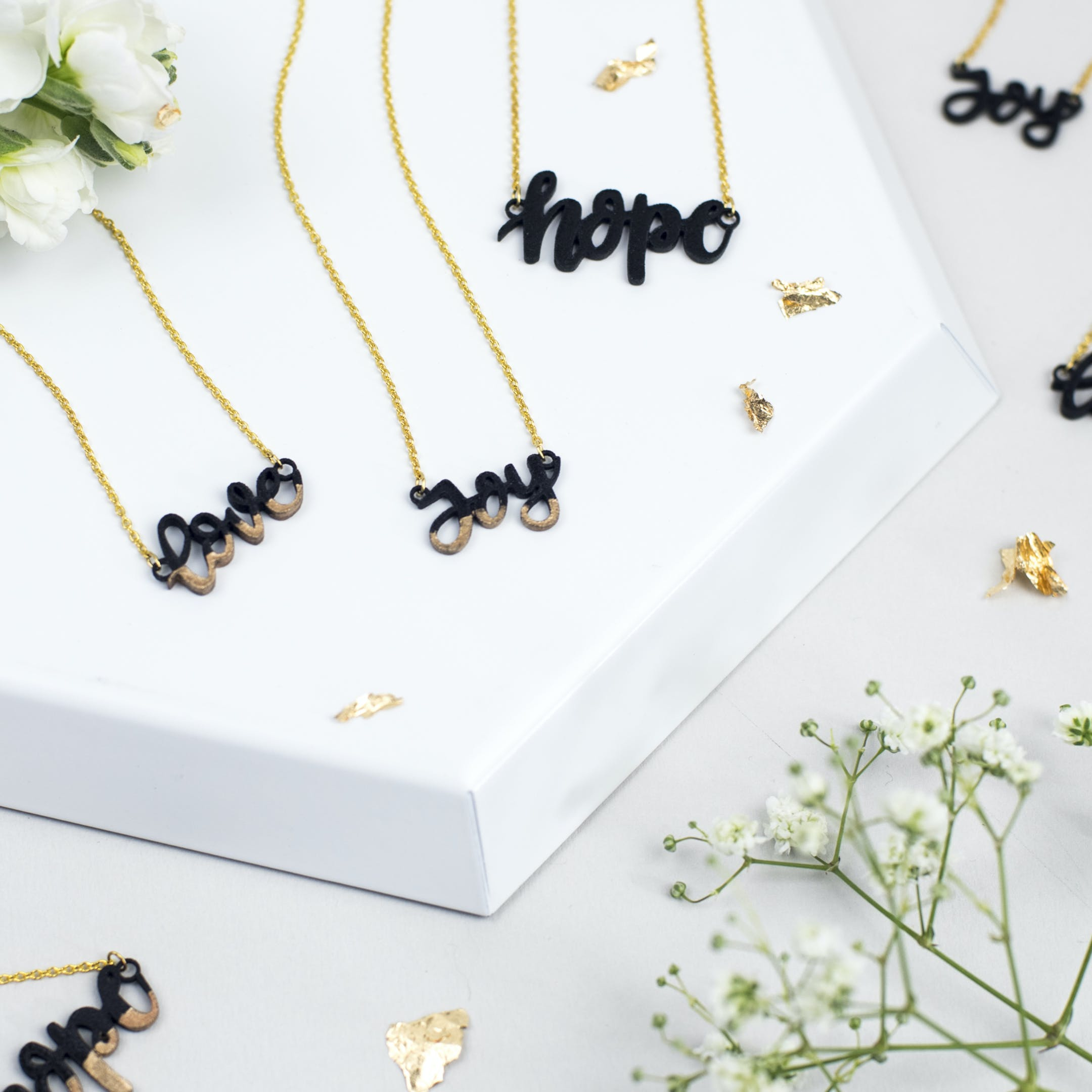 Hope Joy Love Necklaces - Gold-Plated - Izzy and Pop - Bloom Jewellery