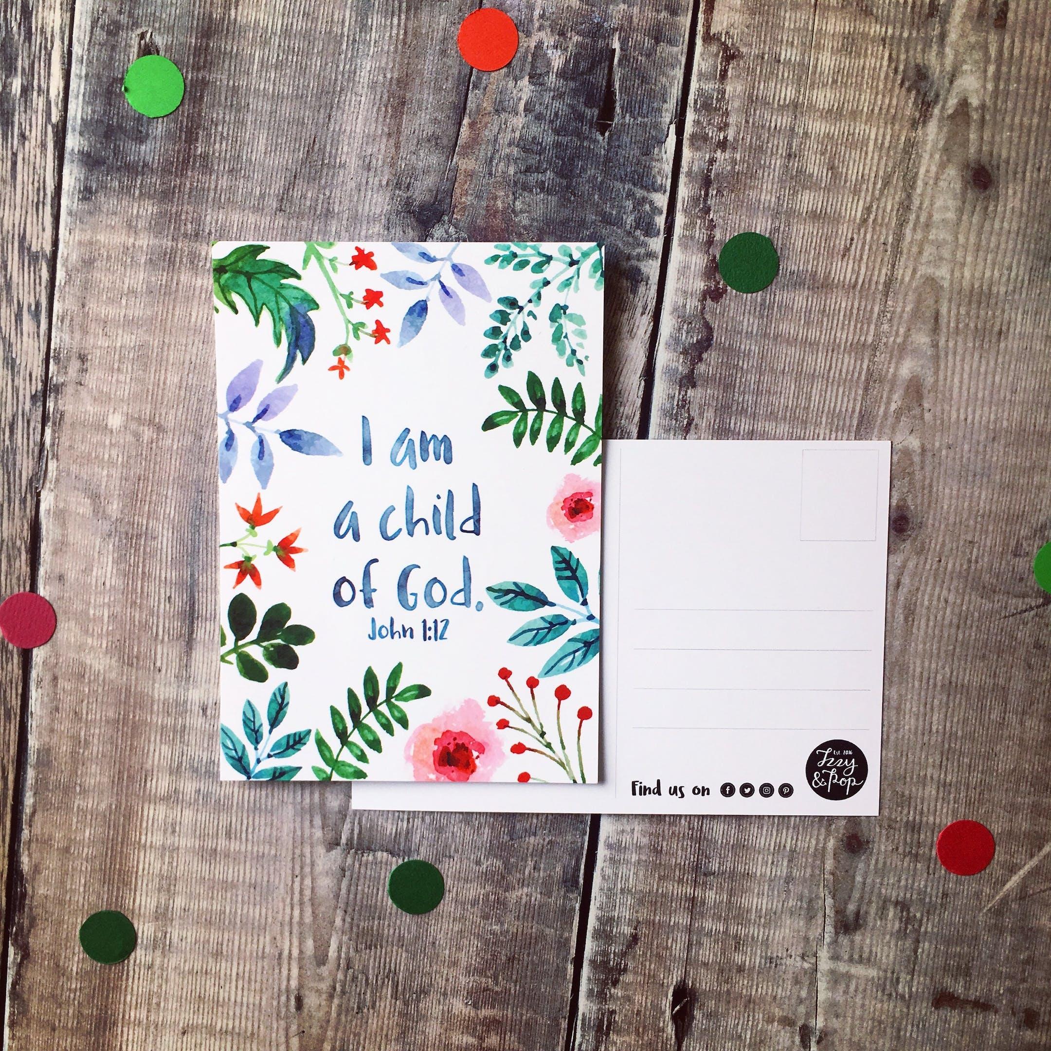 I Am A Child Of God Encouragement Postcard - Izzy and Pop