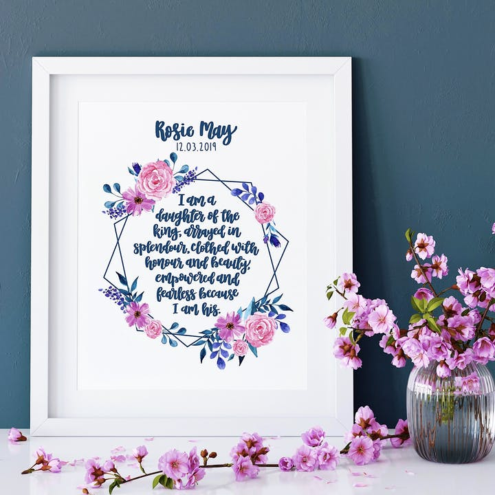 I Am A Daughter Of The King Floral Print - Personalised Print - Izzy and Pop