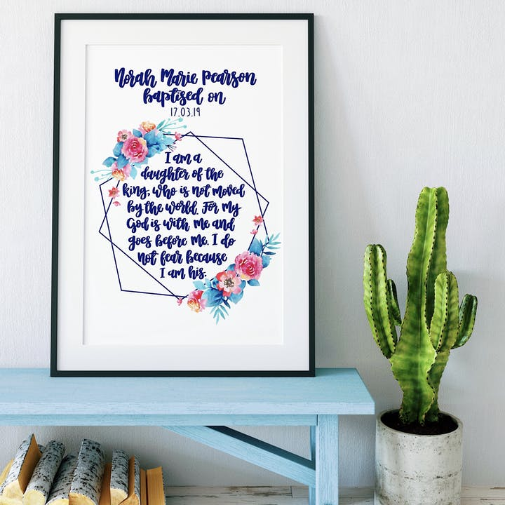 I Am A Daughter Of The King Geo Print - Personalised Baptism Version - Izzy and Pop