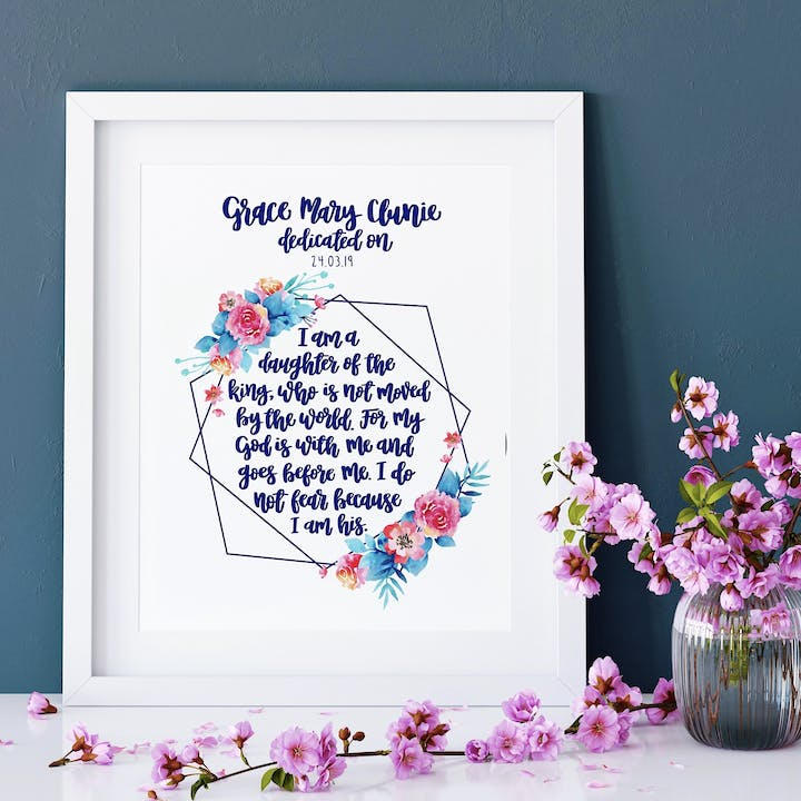 I Am A Daughter Of The King Geo Print - Personalised Dedication Version - Izzy and Pop