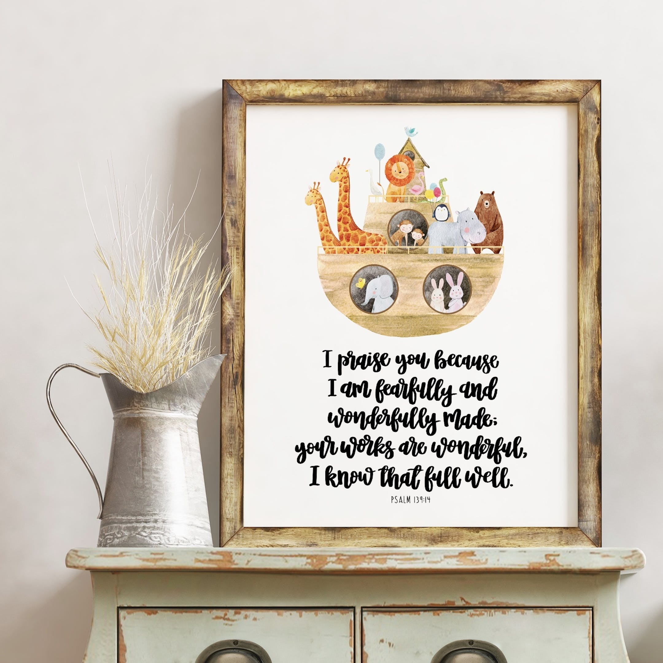 I Am Fearfully And Wonderfully Made Print - Psalm 139:14 - Izzy and Pop
