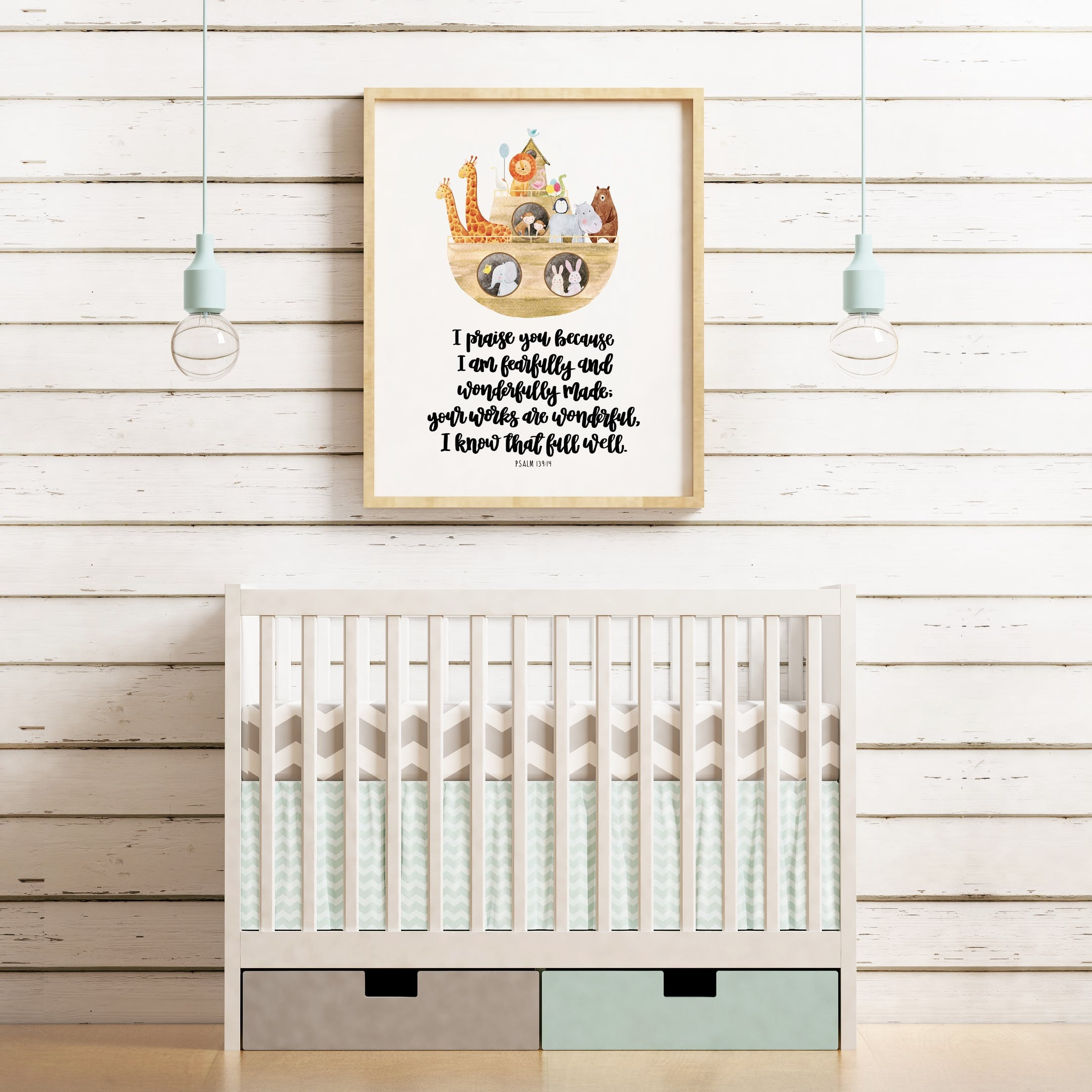 I Am Fearfully And Wonderfully Made - Psalm 139:14 Print - Izzy and Pop