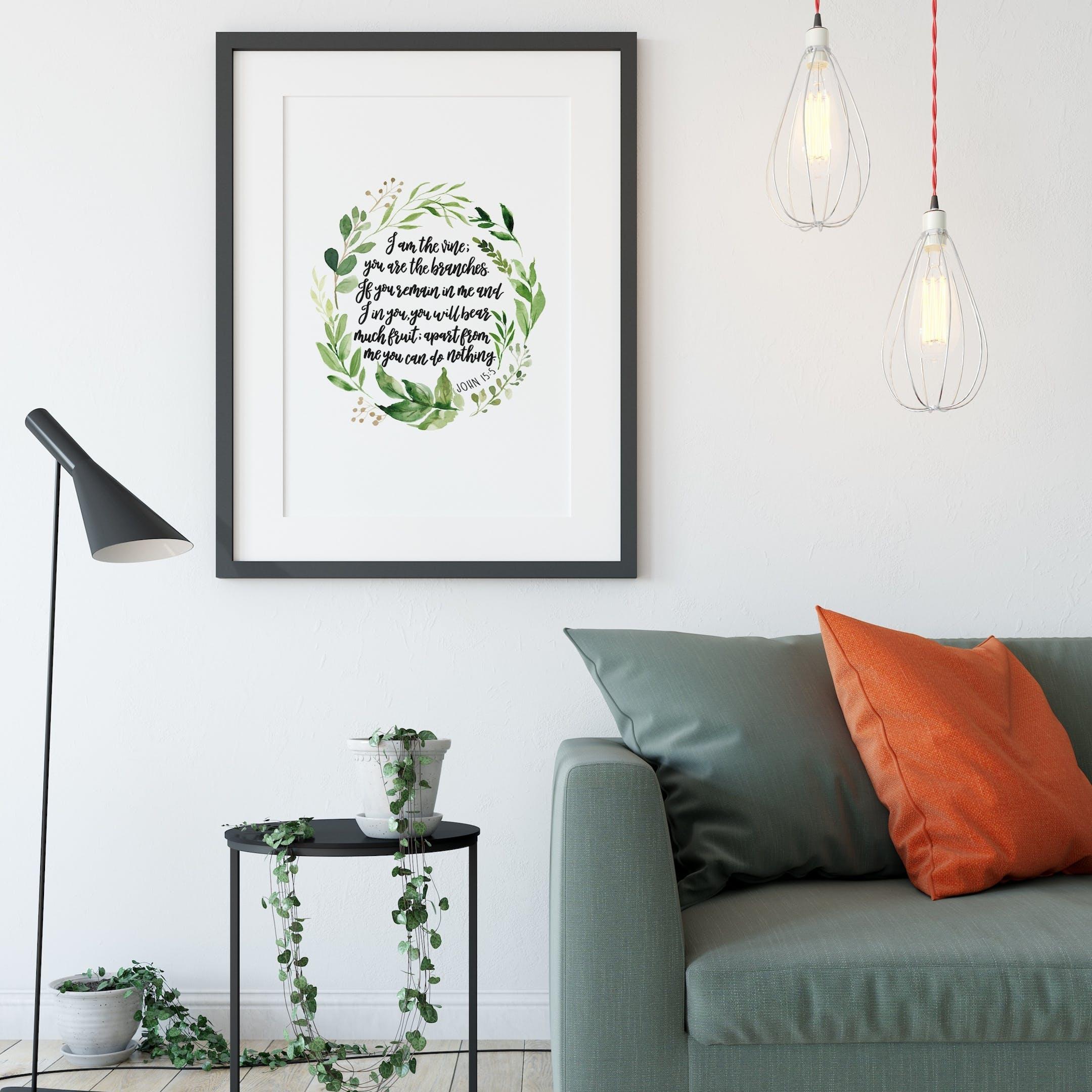 I Am The Vine - John 15:5 Print - Watercolour Wreath - Izzy and Pop