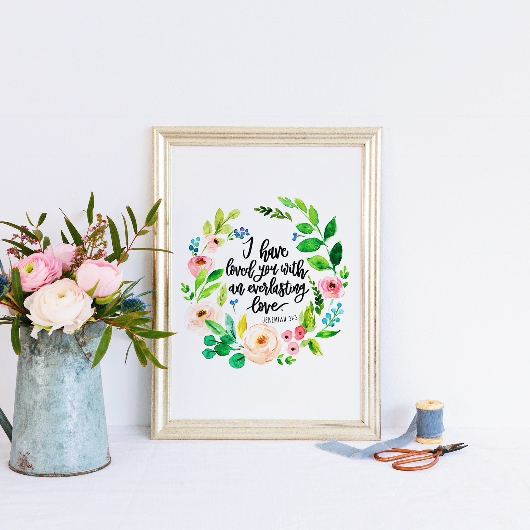 I Have Loved You - Jeremiah 31:3 Floral Print - Izzy and Pop