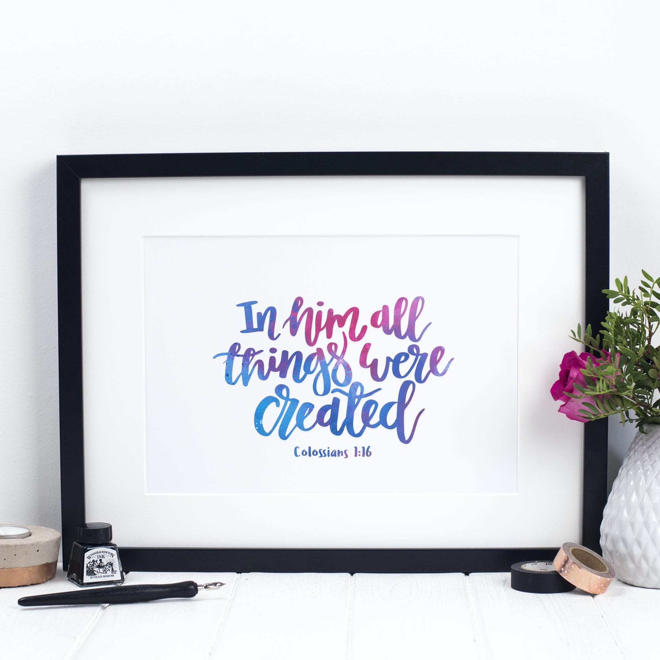 In Him All Things Were Created Print - Colossians 1:16 - Izzy and Pop