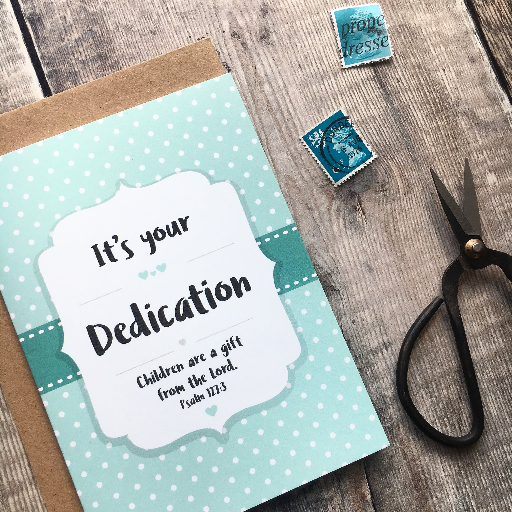 Izzy and Pop Christian Dedication Card Psalm 127:3