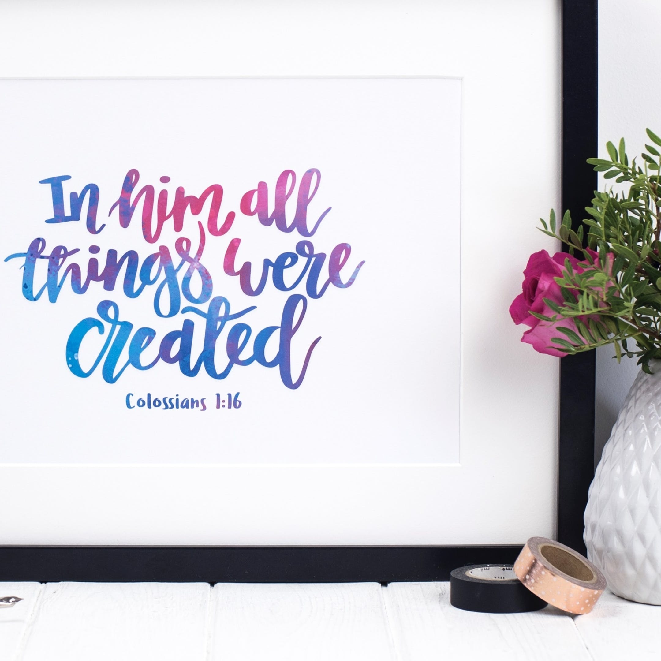 Izzy and Pop Colossians 1:16 Print - In Him All Things Were Created
