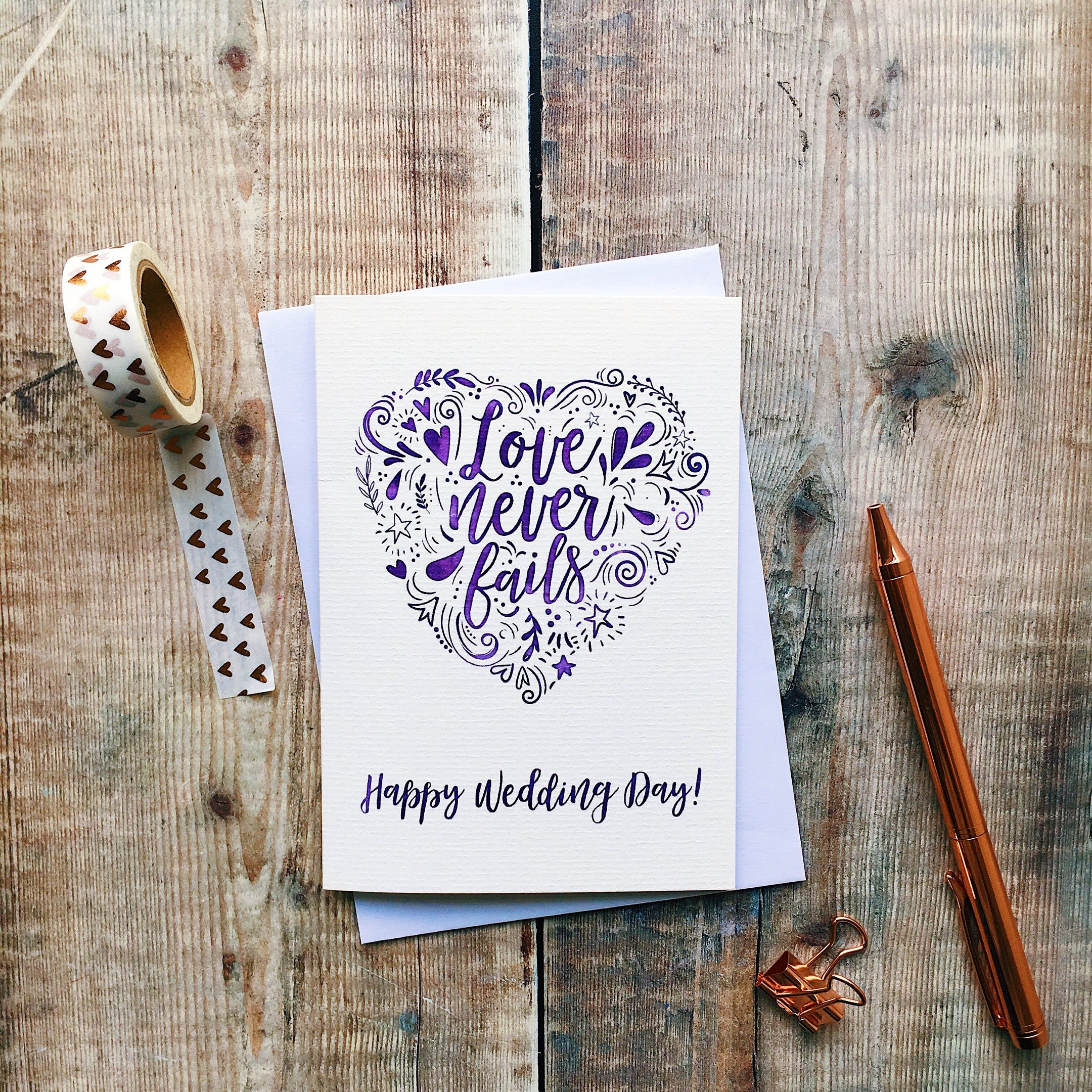 Izzy and Pop - Happy Wedding Day Card - Love Never Fails - 1 Corinthians 13