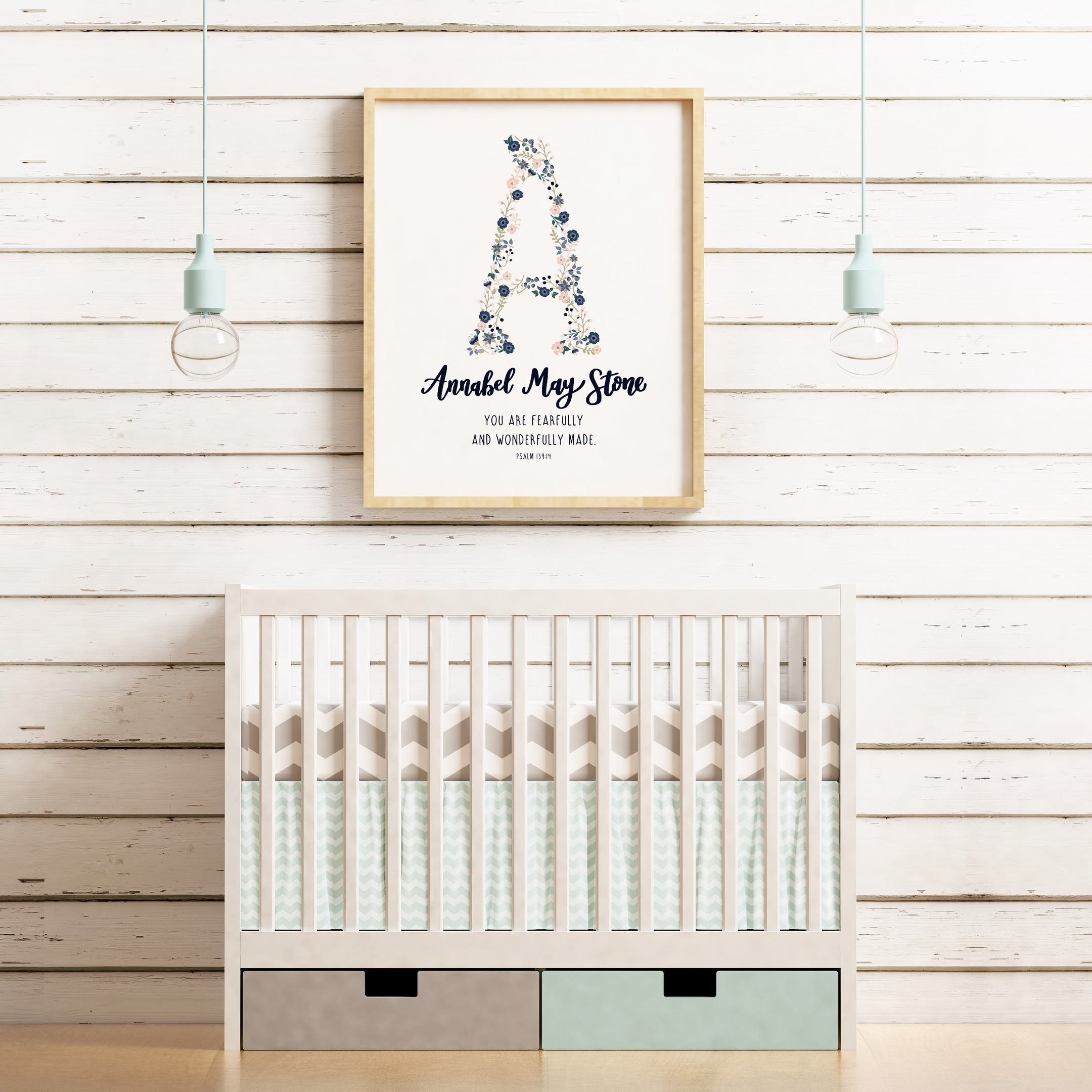 Izzy and Pop - Personalised Baby Girl Name Print - Psalm 139:14