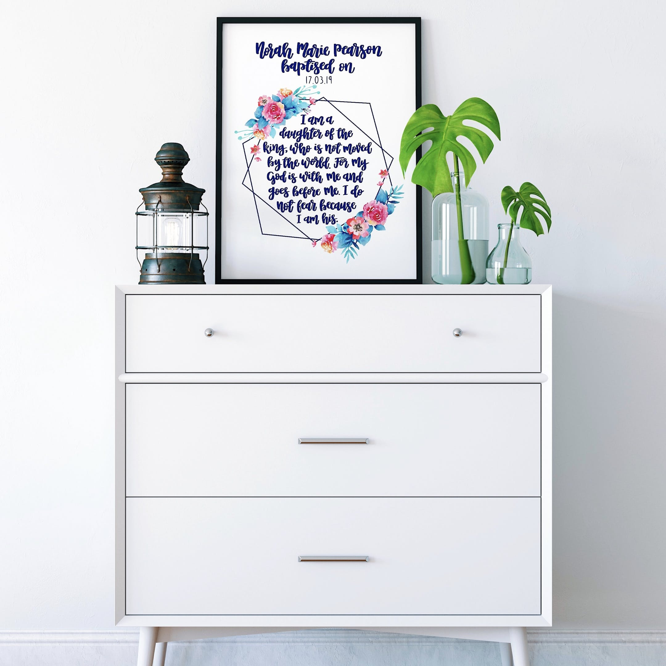 Izzy and Pop - Personalised Baptism Geo Print - I Am A Daughter Of The King