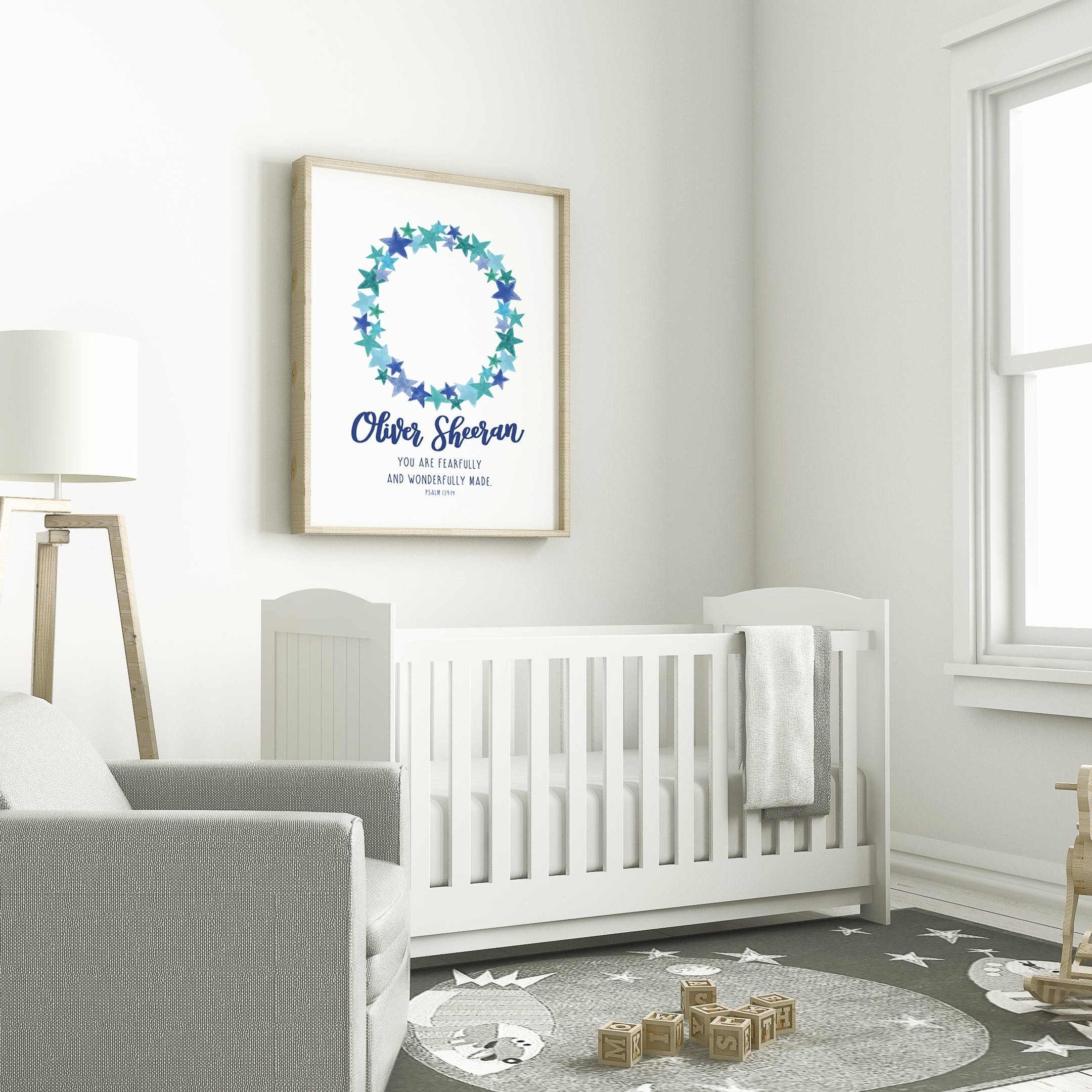 Izzy and Pop - Personalised Boy Name Print - Psalm 139:14