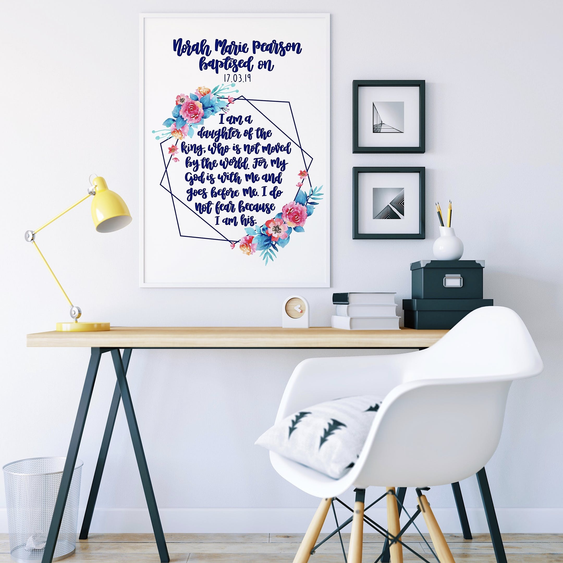 Izzy and Pop - Personalised Geo Print Baptism Version - I Am A Daughter
