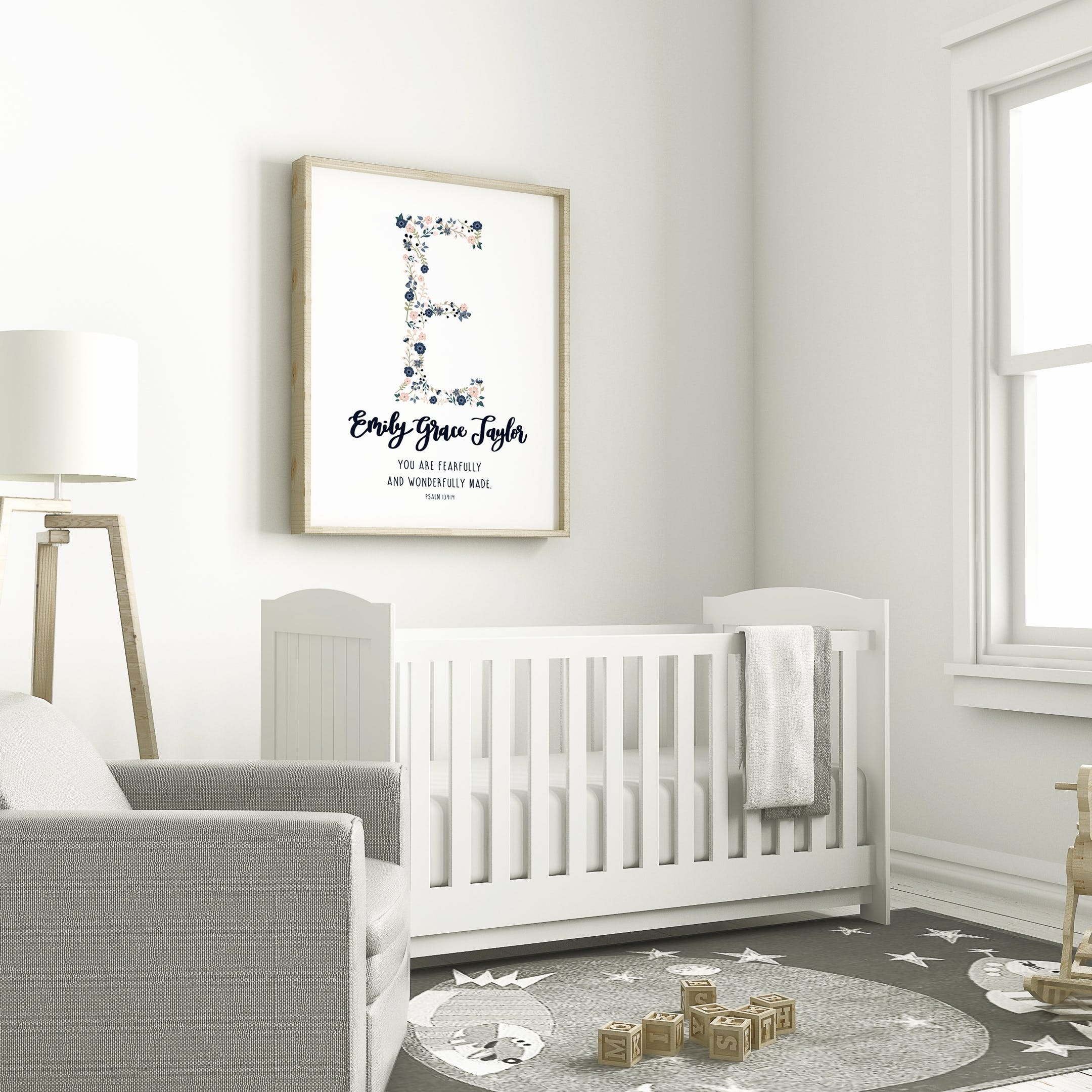 Izzy and Pop Psalm 139:14 Personalised Print - Baby Girl Name