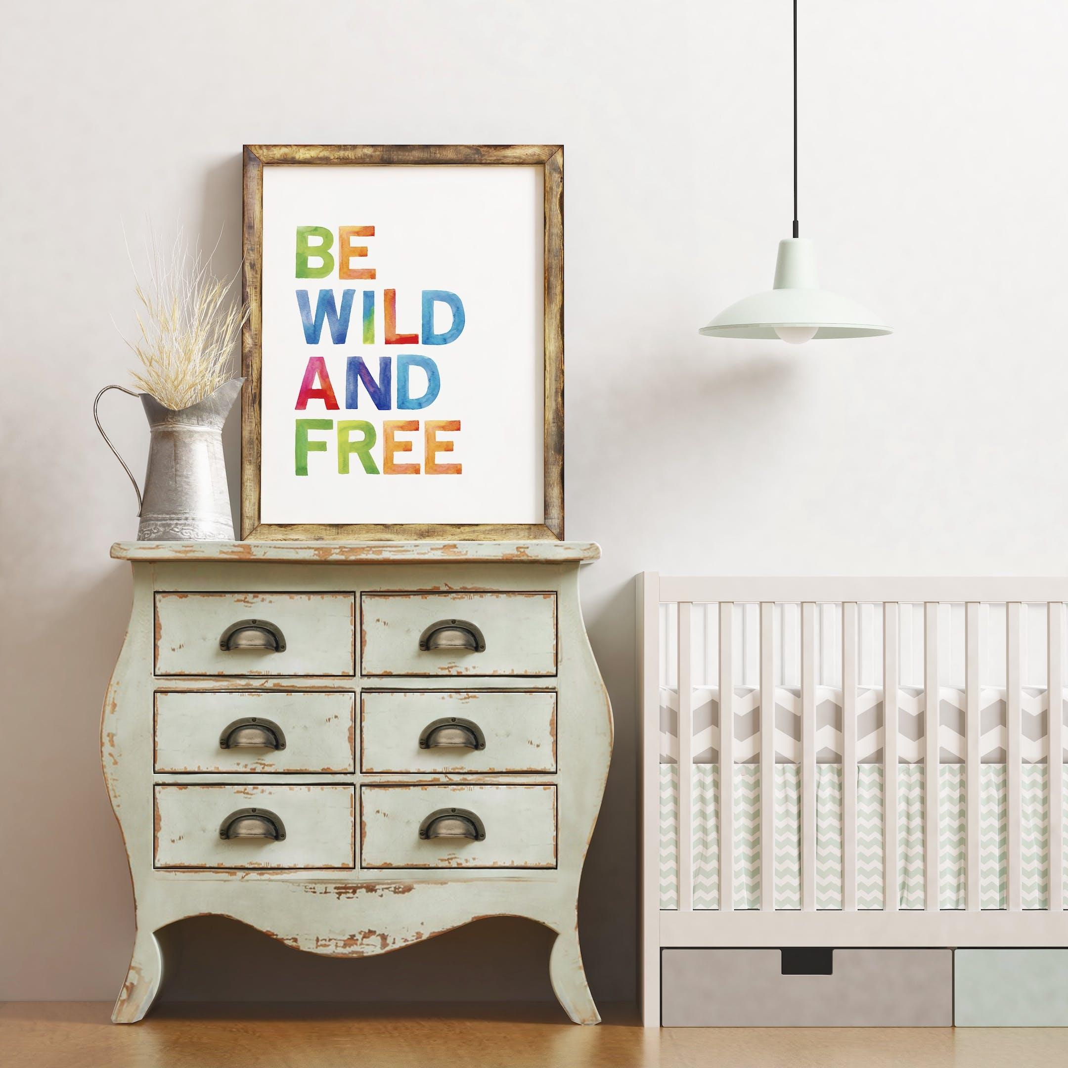 Izzy and Pop Rainbow Nursery Print Be Wild and Free