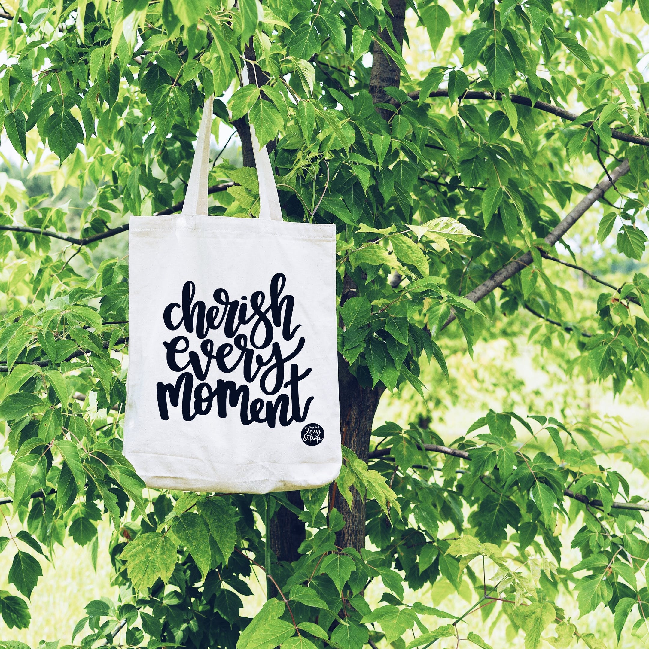 Izzy and Pop - White Tote Bag - Cherish Every Moment