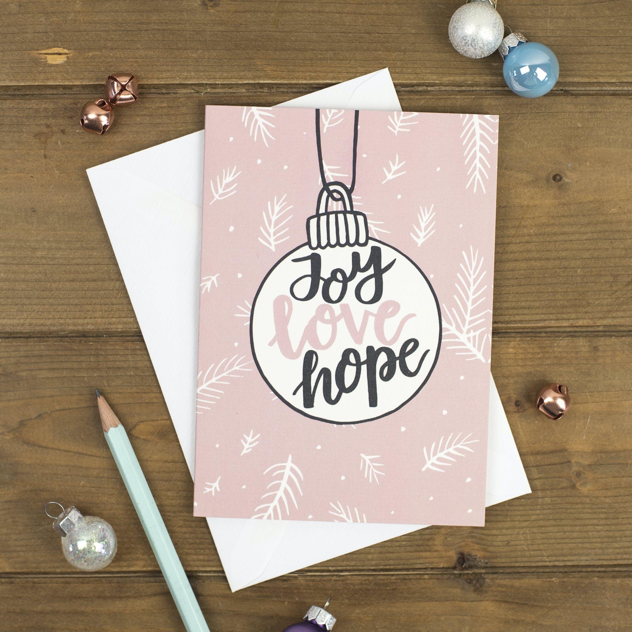 Joy Love Hope Bauble Christmas Card - Izzy and Pop