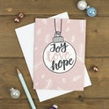 Joy Love Hope Bauble Christmas Card - Izzy and Pop
