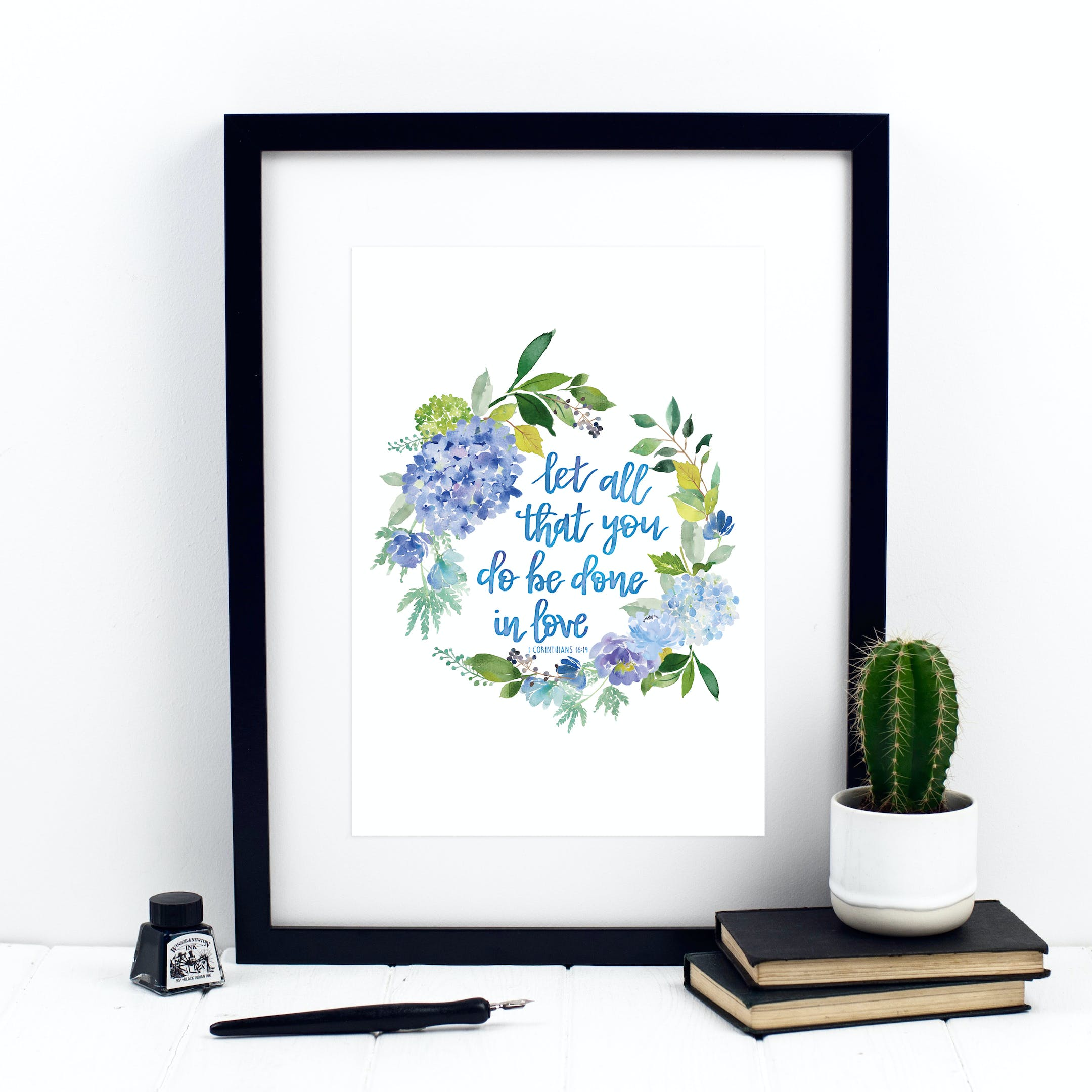 Let All That You Do Be Done In Love - Watercolour Wreath Print - 1 Corinthians 16:14 - Izzy and Pop