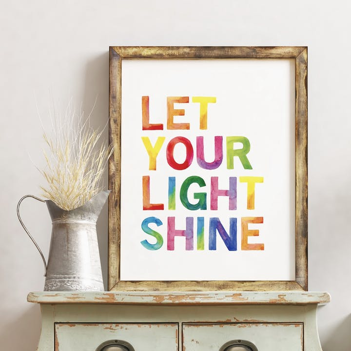 Let Your Light Shine Rainbow Print - Izzy and Pop