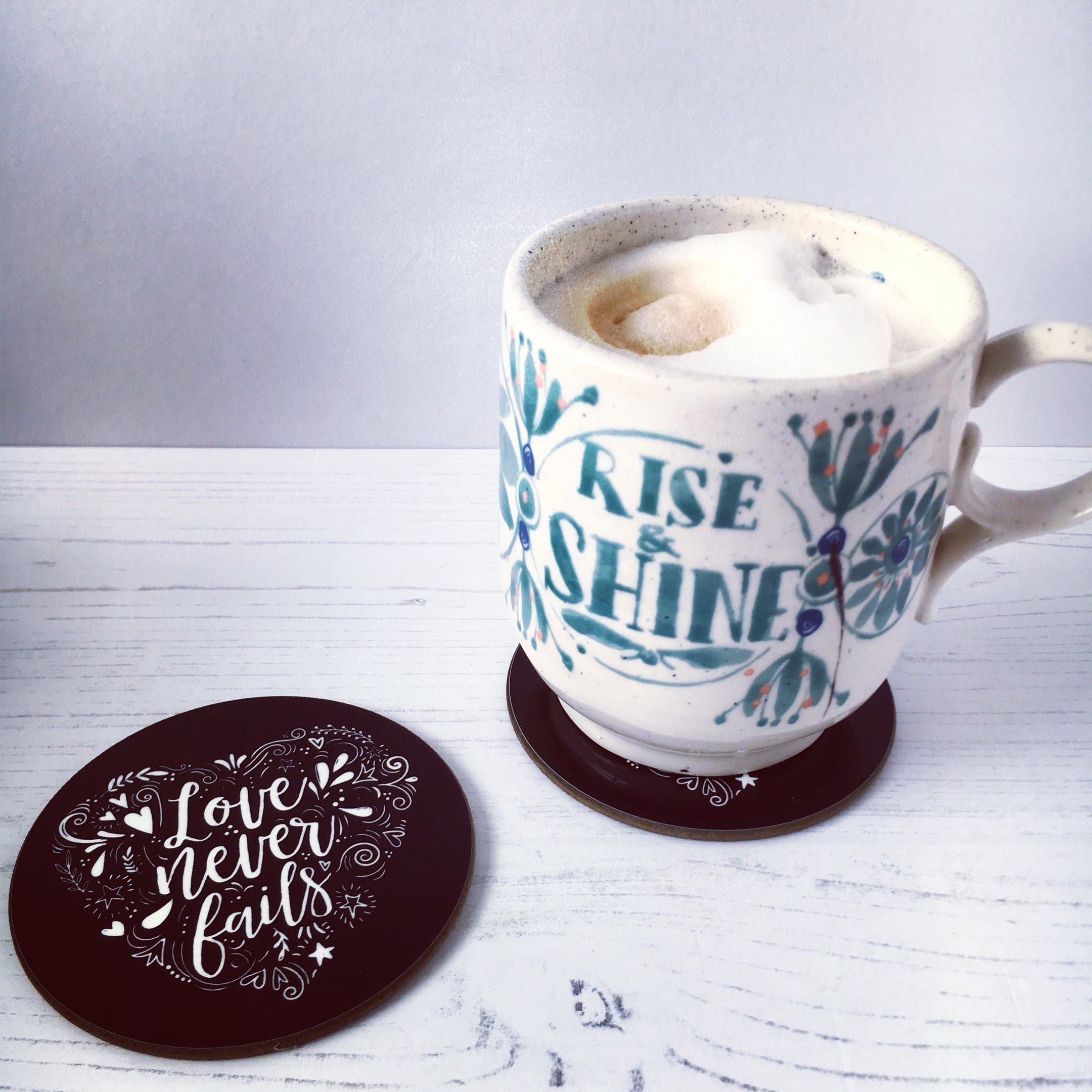 Love & Grace Coasters with cup - Izzy and Pop